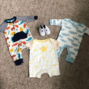 0-3 Month Onesies and Crib Shoes